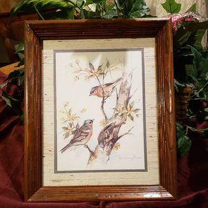 Vintage Three Bird Print in Frame